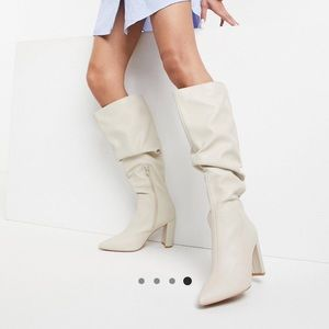 Asos mine slouch knee boots in bone